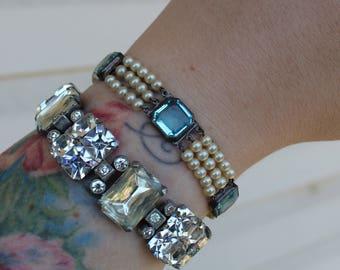 Vintage Edwardian Blue Crystal and Pearl Sterling Silver Bracelet 1900