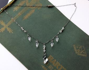 Vintage Art Deco Faceted Glass Crystal Necklace