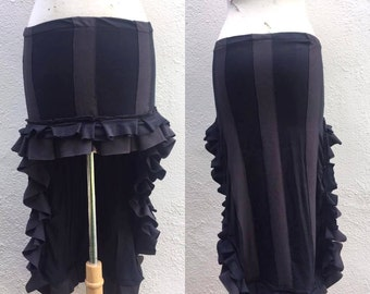 Steampunk Skirt - Striped Skirt - Beetlejuice Skirt - Gothic Long Skirt