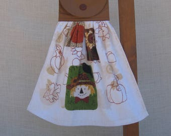 Scarecrow Hanging Towel, Kitchen Dish Towel, Autumn Harvest Hand Towel, Tea Towel