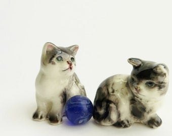 Vintage Miniature Cats Handpainted Black and White Green Eyed Ceramic Made In Japan