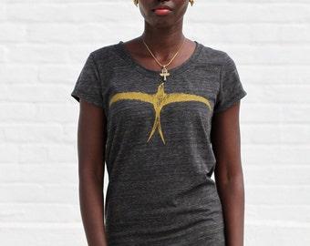 Frida Kahlo Eyebrow Tee - Frida Kahlo Summer Tshirt - Black and Gold Bird Shirt - Frida's Eyebrow Short Sleeve T-Shirt - Frida Unibrow