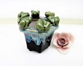 Vintage Frog Pot | Drip Glaze Vase | Frog Pottery | Sponge Holder | Kitchen Scrubbie Holder