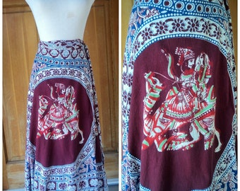Vintage 70s Wrap Skirt Hippie Skirt India Wrap Skirt 1970s Cotton Wrap Skirt Boho Ethnic Persian Prince Princess Wrap Around Skirt 30 W