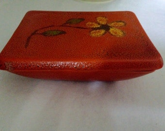 Mid Century Ceramic box, Freeman and McFarlin Potteries of California, ,Orange Pottery, Tobacco Box, Cigarette Box, Trinket Box