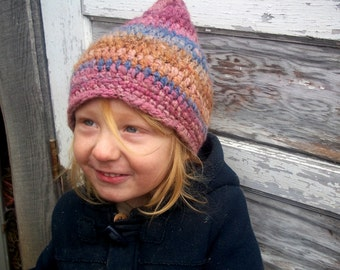 Crochet Pixie Hat in Wool for Kids and Adults / Neutral, Boy, Girl Hat in blue, pink, and brown
