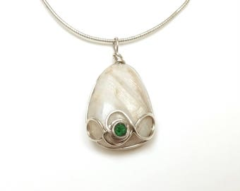 Belomorite pendant silver, moonstone pendant, infinity pendant, uvarovite pendant, moonstone necklace, Russian gemstones, sterling moonstone