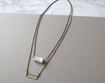 Verve - Double Strand Brass & Marbled Howlite Necklace; Multistrand Two Chain Geo Rectangle Pendant (Collier Multirang Marbré) by InfinEight