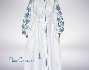 Boho dress with embroidery White linen dress Bohemian wedding dress Maxi dress Plus size clothing Plus size summer dress Long shirt dresses