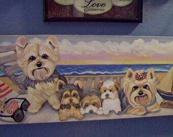 Yorkie Beach Original Art Painting Acrylic Artist Signed Summer Puppy Realistic Best