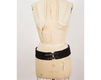 Vintage black suede belt / Alain Manoukian wide leather waist belt L XL
