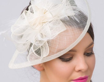 "Ivory Fascinator - ""Penny"" Mesh Hat Fascinator with Mesh Ribbons and Ivory Feathers"