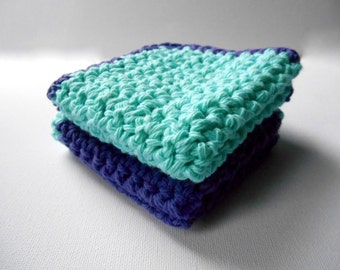 Crochet Washcloths, Set of 2, Cotton, Crochet Wash Cloths, Dishcloth