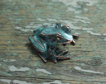 Pond frog copper patina sculpture