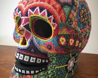 Decorated skull inspired by Huichol/Wixárika art