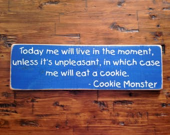 Cookie Monster Sesame Street Distressed Wood Sign