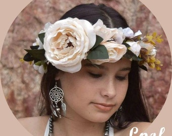 Weddings Ivory Flower Crown Hair Accessory Floral Headband Flower Headpiece Floral Crown Bridesmaid Flower Headband Flower Crown - Carmela