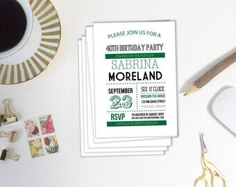 Printable Birthday Party Invitation,  Printable Invitation, Editable Template, Editable Invitation, 40th Birthday Invitation