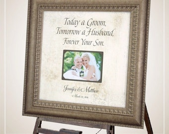 MOTHER Of THE GROOM, Parents Wedding sign, Personalized Wedding Frame, Today A Groom quote, Family Gift from Groom, wedding frame, 16 X 16