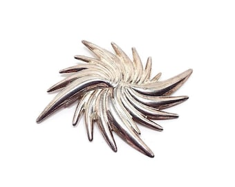 Big Funky Vintage Swirl Burst Brooch Light Gold Tone Retro Womens Statement Jewelry