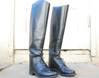 Vintage Womens 4.5 Effingham Bond Boot Company USA Leather Black Tall Pull On Riding Boots Classic Boho Boots Equestrian Rider Biker Moto