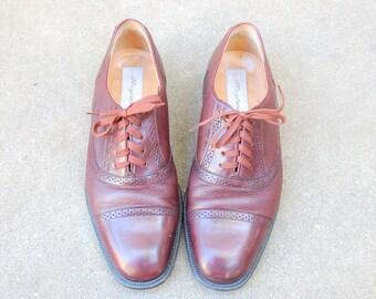 Vintage Mens 8.5w Mezlan Spain Burgundy Leather Lace Up Oxfords Wingtips Brogues Cap Toe Hipster Wedding Suit Dress Shoe Spring High Fashion
