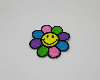 """Smiley Face Patch Flower Patch Iron On Patch size 2"""" x 2"""""""