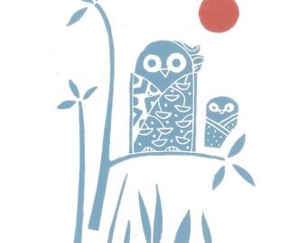 Owl Linocut Print - Woodland Original Lino Block Print, Modern Art Print, Signed, Japanese Style Printmaking