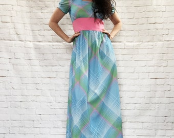 Vintage 60s Mod Plaid Wide Pink Bow Belt Puff Sleeve Maxi Dress Blue Green M L