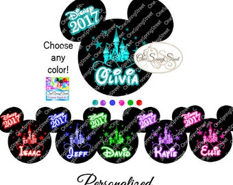 Disney Iron On Transfer Personalized Mickey Cinderella Castle matching family vacation- disney shirts diy- printable digital #1856 prks