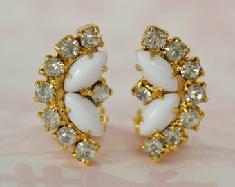 Vintage Clip-On Earrings with Clear Rhinestones and Milk Glass Navette Stones