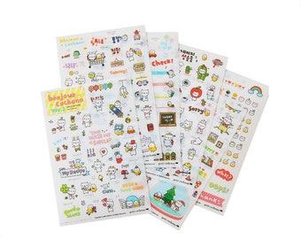 S187 Bonjour Cochonn Korean Sticker Sheets Set, planner stickers, cute stickers sheet pack, diary stickers, daily life sticker, stationery