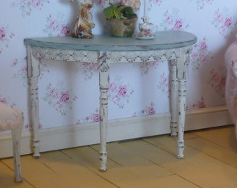 Shabby Chic Country  Half Table for Dollhouse