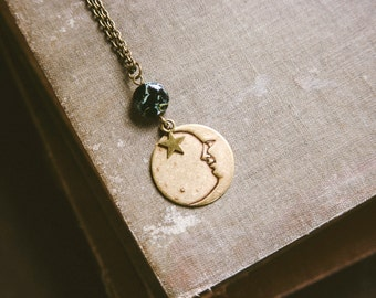 starry night. a bohemian moon face and star necklace.
