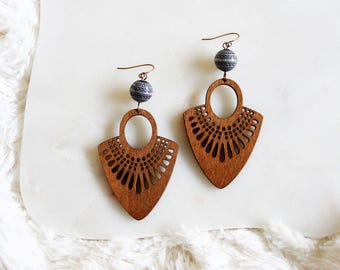 tribal boho wooden earrings.