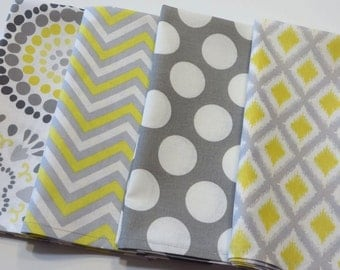Cloth Napkins sets of 4 Grey and Yellow in Chevron , Dots, diamonds and floral, 4 or 8 Dinner Size cotton Napkins  Handmade