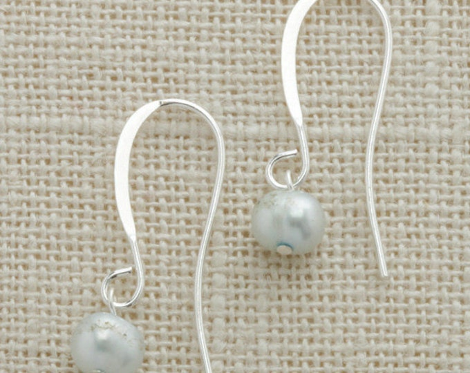 Grey Pearl Silver Earring French Hooks Handcrafted 6H