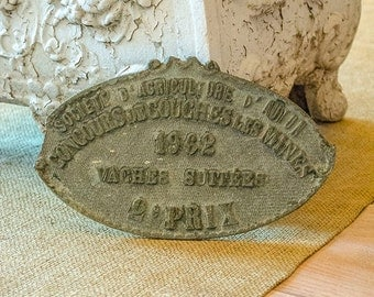 Vintage FRENCH Agriculture Trophy, Plaque, Bulls, 2nd Prize, 1962, From France