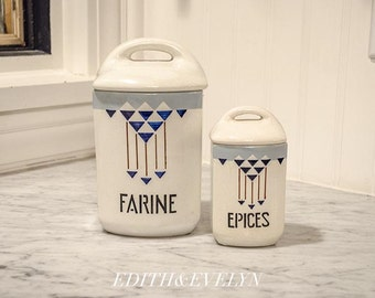 Antique Pr French Kitchen Canisters, Pottery, from France