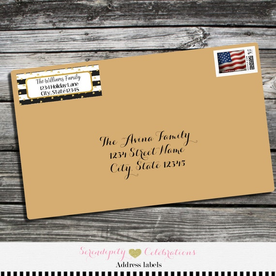 Black White Stripes Christmas Address Labels, Address Labels ...