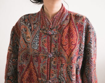 Vintage Red Tapestry Jacket / Paisley Cheongsam Jacket / Mandarin Collar Carpet Jacket Ethnic Boho Hipster Button Up Abstract Qipao Asian
