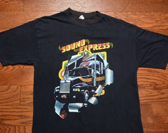 vintage 80s Miller Sound Express t-shirt Jet Magazine shirt black culture Atlanta R&B hip hop 1980 concert L large truck trucking