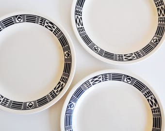 """Set of 3 """"Aztec"""" Pattern Saucers // Corelle by Corning"""