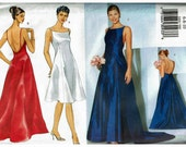 Gown with Train Princess seams Misses Dress Classics Butterick 6404 Sizes 6 8 10 Bridal Wedding Party Bride Bridesmaid Uncut Sewing Pattern