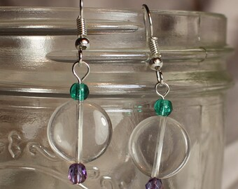 Crystal Quartz and Glass Bead Earrings