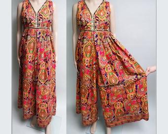 Vintage 1960s Jumpsuit//60s Jumpsuit//Designer//Blue//Green//Metallic Gold//Flowing//Jumpsuit//1960s//Wide Leg//