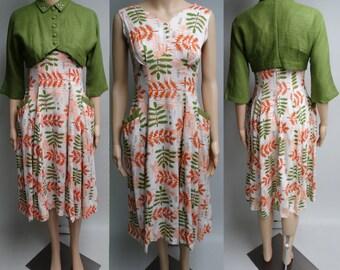 Vintage 1950s Dress   Floral   Bias Cut   Matching Bolero Jacket   50s Dress   Rhinestones   Pearls   Rockabilly   New Look   Mod  
