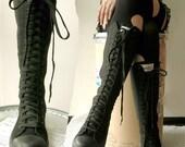 20 Hole Punk Rock Men Women Canvas Laceup Knee Hi Mono Black Sneaker Flat Boot