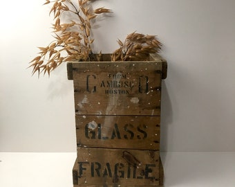 Industrial wooden crate - Cambosco Boston - vintage scientific crate with stenciled lettering - rustic storage
