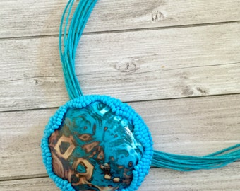 Polymer clay  pendant,Beadwork Necklace, polymer clay necklace,  blue polymer clay  jewelry
